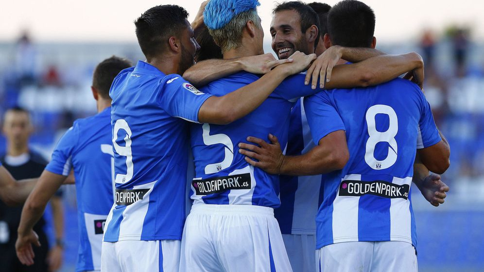Foto: El LeganÉs celebra un gol durante la pretemporada (J.P. Gandul/EFE)