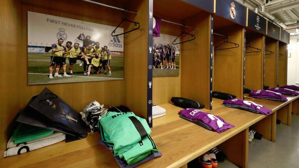 La decoración del vestuario del Real Madrid en Cardiff