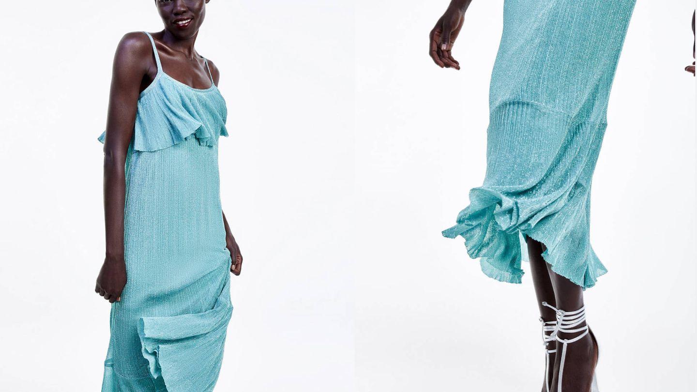 Capa y volante en detalle del vestido de invitada perfecto de Zara. (Cortesía)