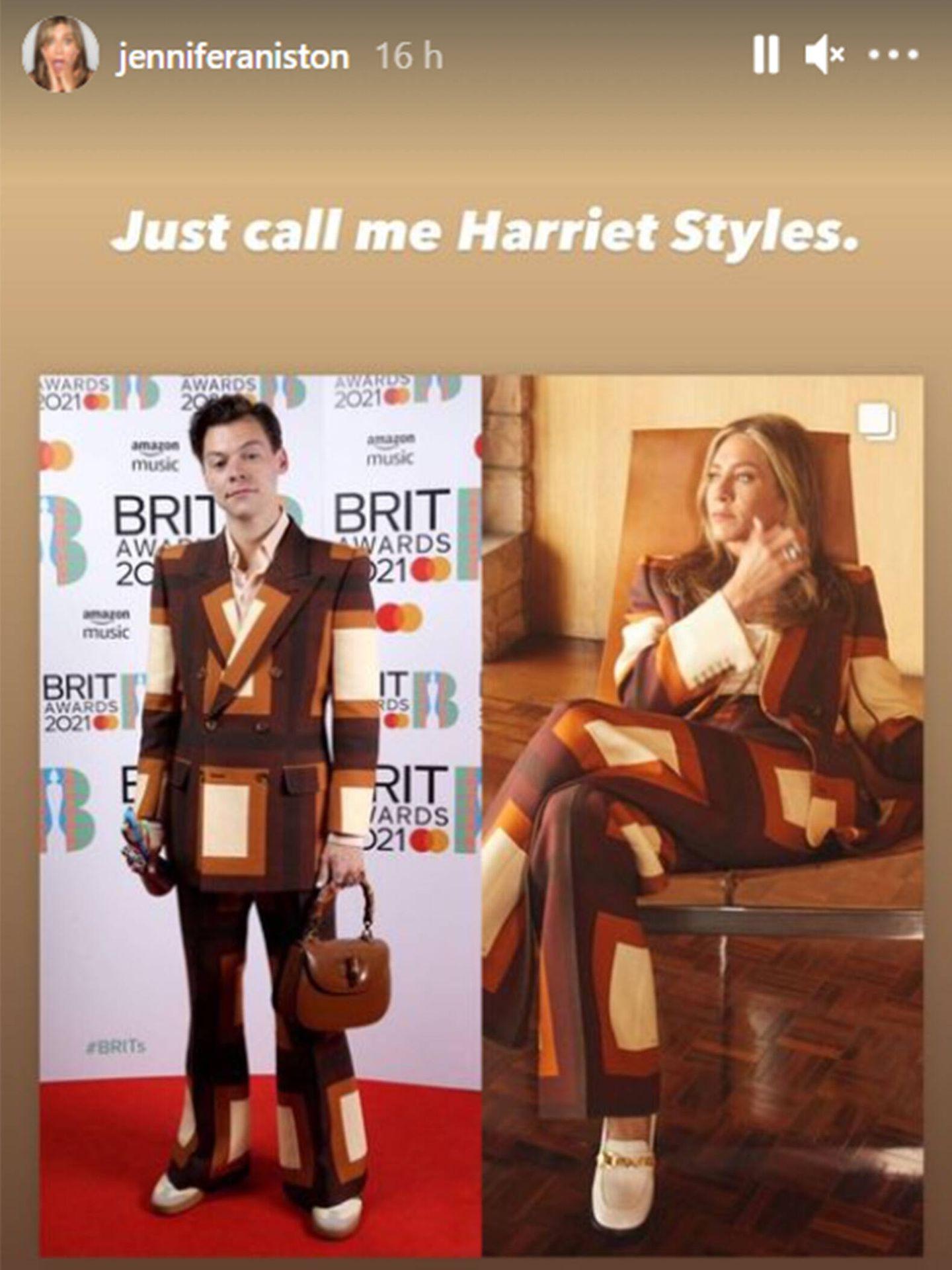 Harry Styles y Jennifer Aniston con el mismo traje de chaqueta. (Instagram @jenniferaniston)