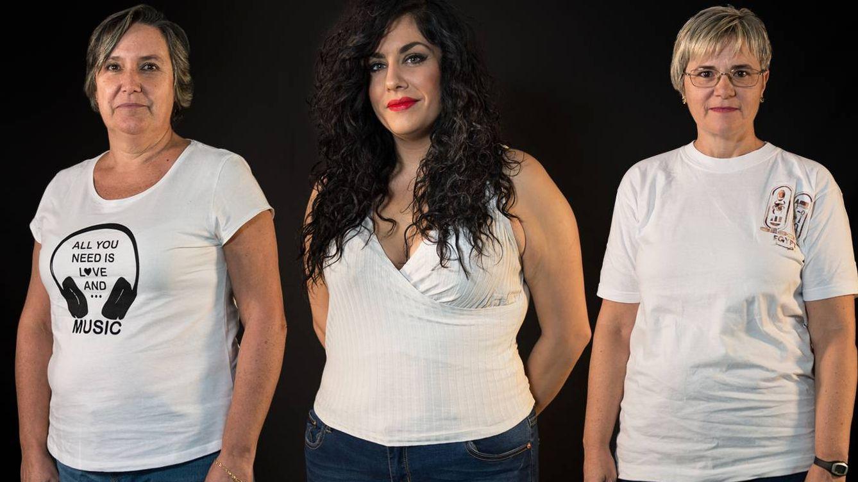 Foto: Cristina y Tamara (izquierda y centro) usan una 44. Cristina, una 42. Las tres tienen cada vez más difícil comprar en las principales tiendas de moda. Foto: Pablo López Learte