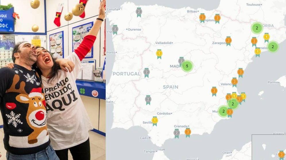 Foto: ¿Dónde están cayendo los grandes premios de la Lotería de Navidad de 2019? (El Confidencial)
