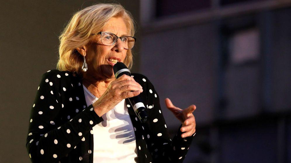 Foto: a alcaldesa de Madrid y candidata de Más Madrid a la reelección, Manuela Carmena, durante un mitin. (EFE)