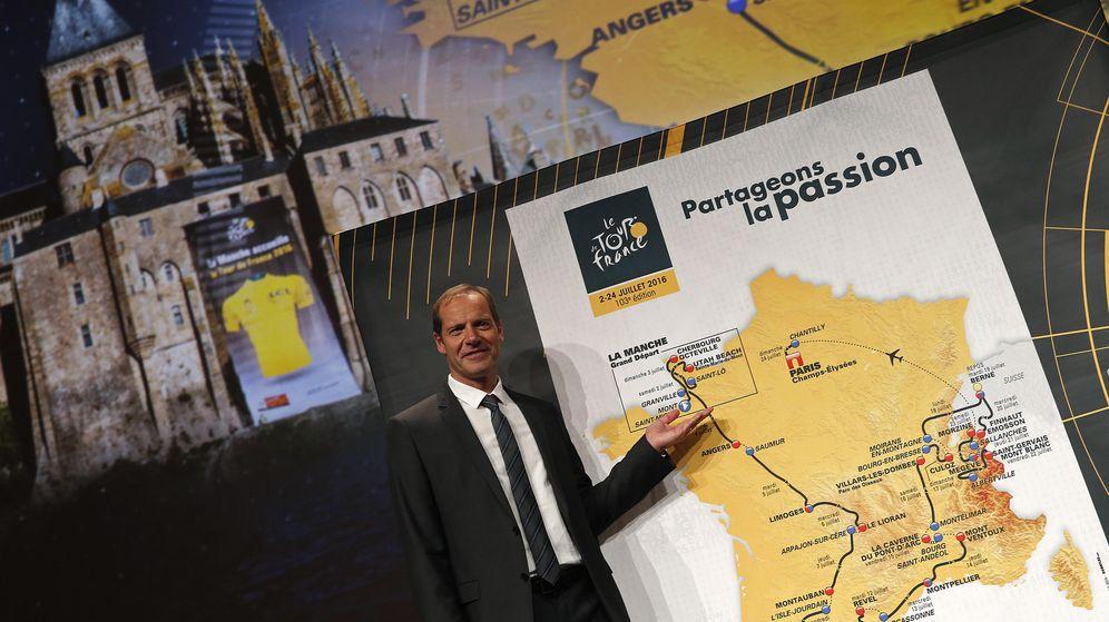 Foto: Christian Prudhomme, director del Tour presentando la próxima ronda.