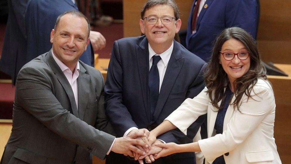 Foto: Rubén Martínez Dalmau (Podemos), Ximo Puig (PSPV-PSOE) y Mónica Oltra (Compromís). (EFE)