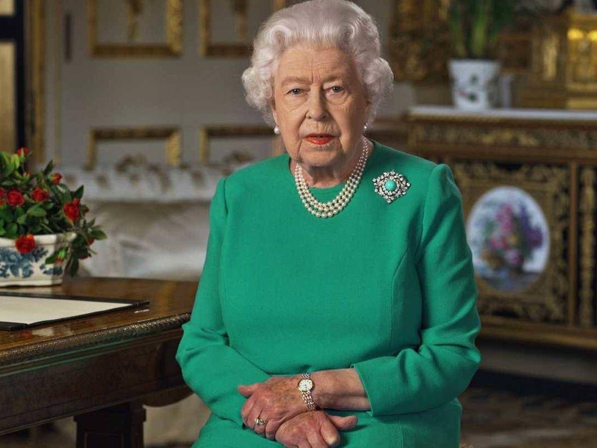 Foto: Isabel II de Inglaterra, durante la grabación del mensaje en Buckingham Palace.  AFP