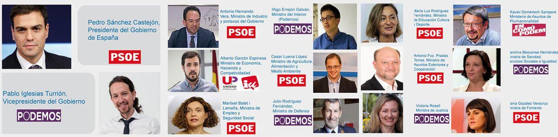 Foto: Formación del equipo de gobierno difundida por Podemos Zaragoza