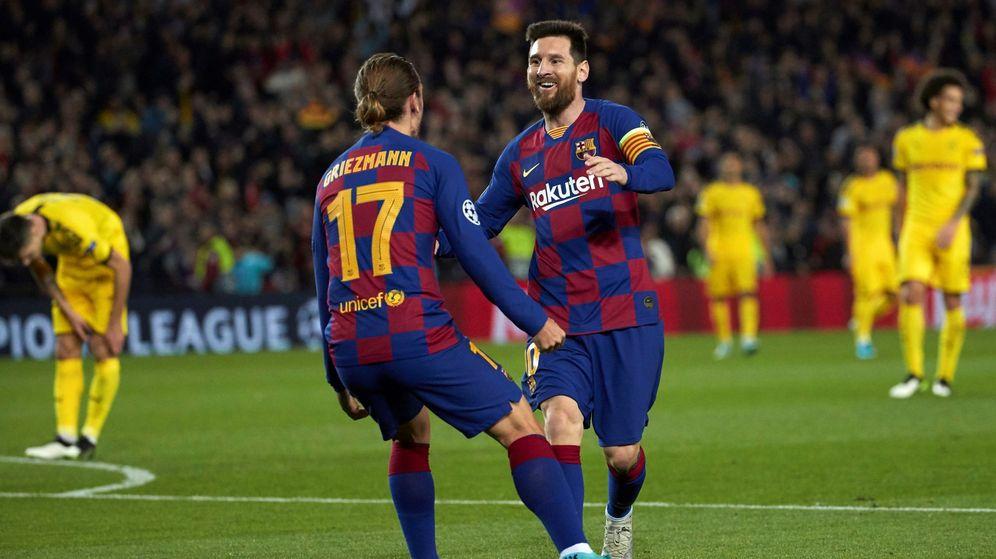Foto: Antoine Griezmann celebró con Leo Messi su gol ante el Borussia Dortmund. El argentino le dio la asistencia. (EFE)