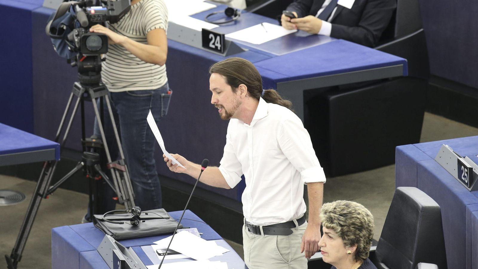 Foto: Pablo Iglesias, durante una intervención en el pleno de Estrasburgo. (EFE)