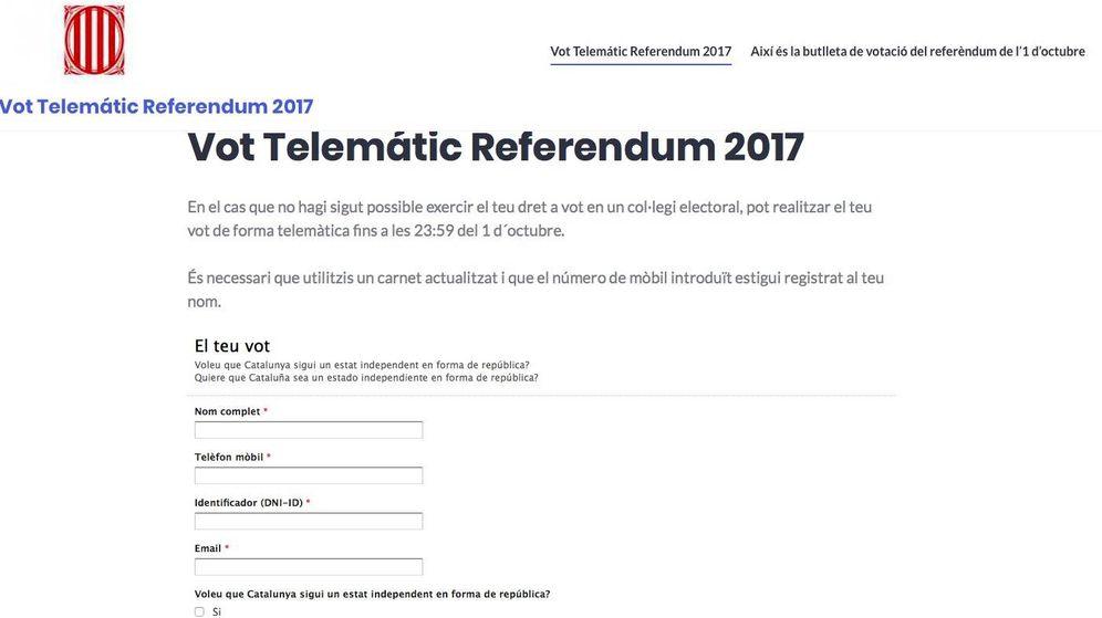 Foto: Web en 'Wordpress' del Govern para votar en el referéndum del 1-O.