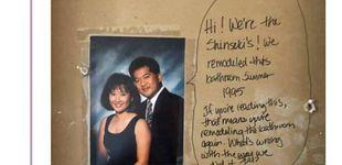 Post de Al reformar el baño, apareció un mensaje que les dejaron los antiguos propietarios