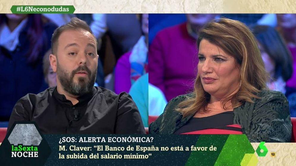 Foto: Antonio Maestre y María Claver, en 'La Sexta noche'. (Atresmedia).