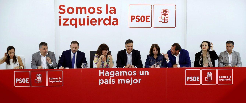 Foto: Pedro Sánchez, en la última reunión plenaria de la ejecutiva del PSOE antes del verano, este 16 de julio en Ferraz. (EFE)