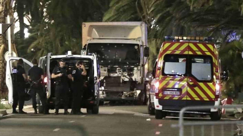 Foto: El camión del atropello en Niza estaba cargado de armas inutilizadas.