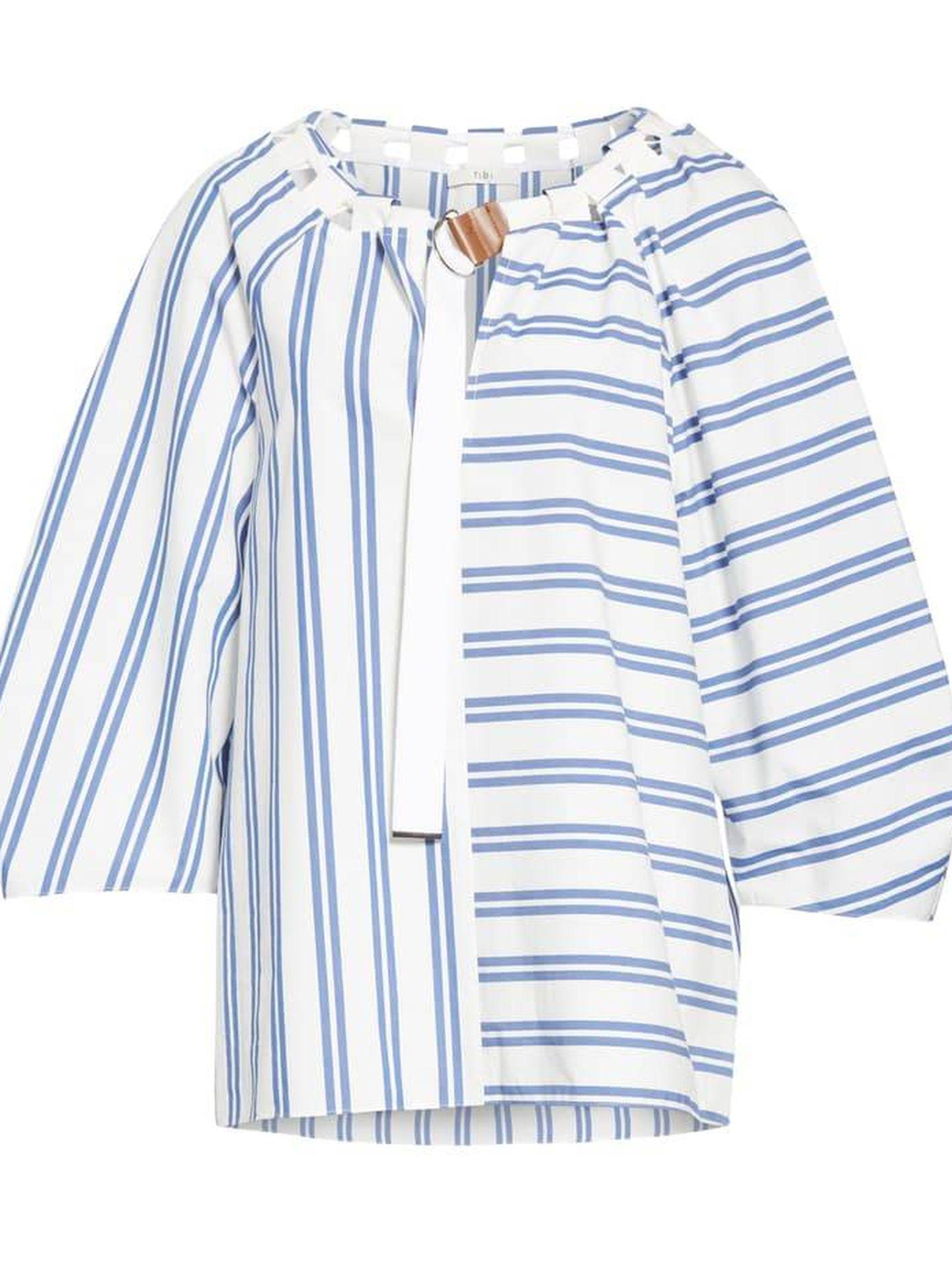 La blusa de Tibi que luce Rania. (Cortesía)