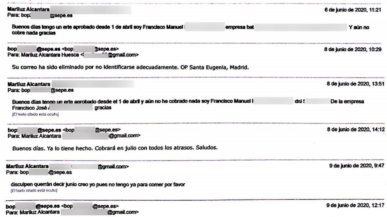 Hilo de correos solicitando información al SEPE.