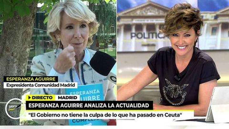 Esperanza Aquirre y Sonsoles Ónega, en 'Ya es mediodía'. (Telecinco)