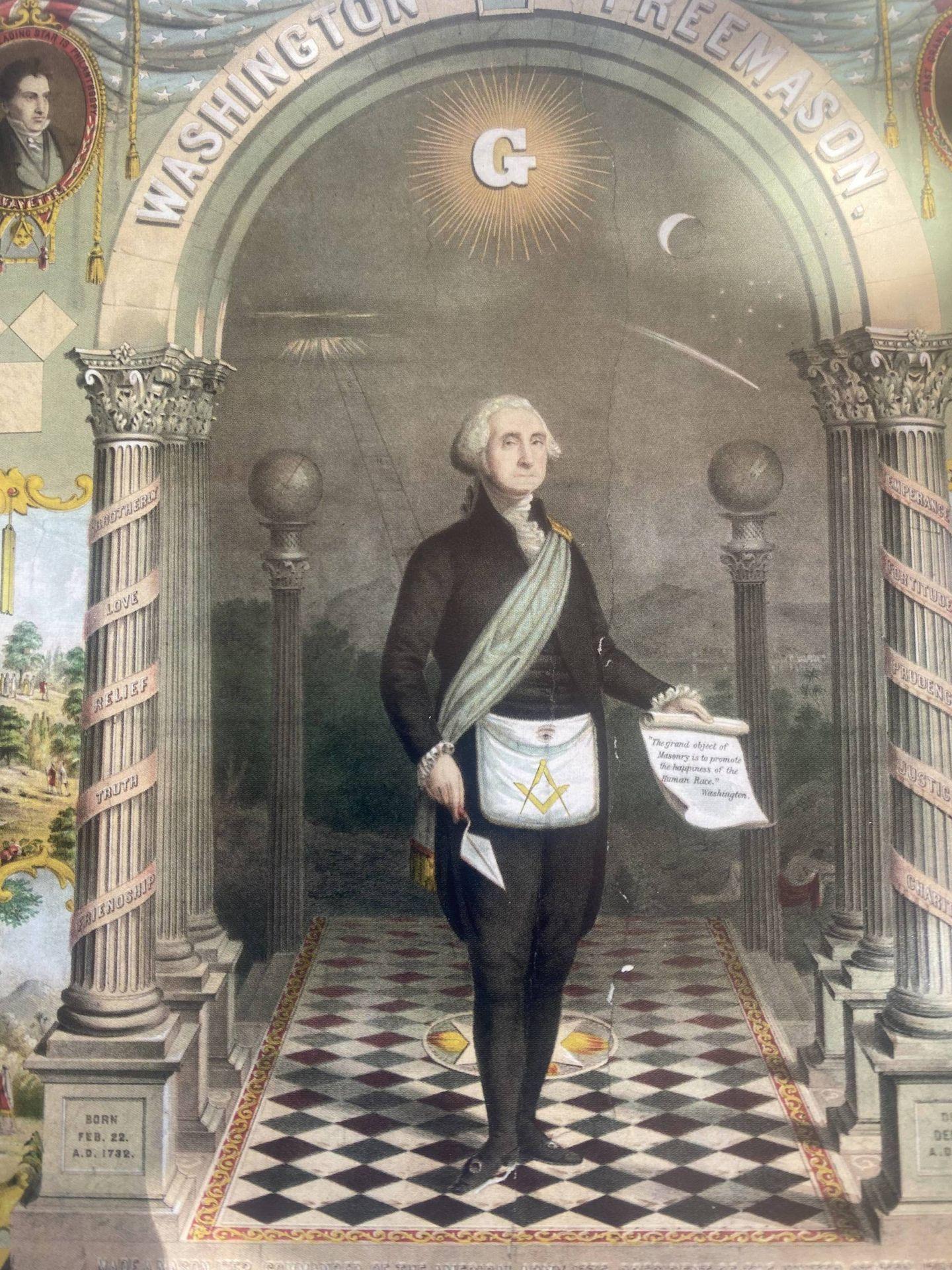George Washington representado como un 'freemason', litografía de 1866. (Biblioteca Nacional Australiana en Camberra)
