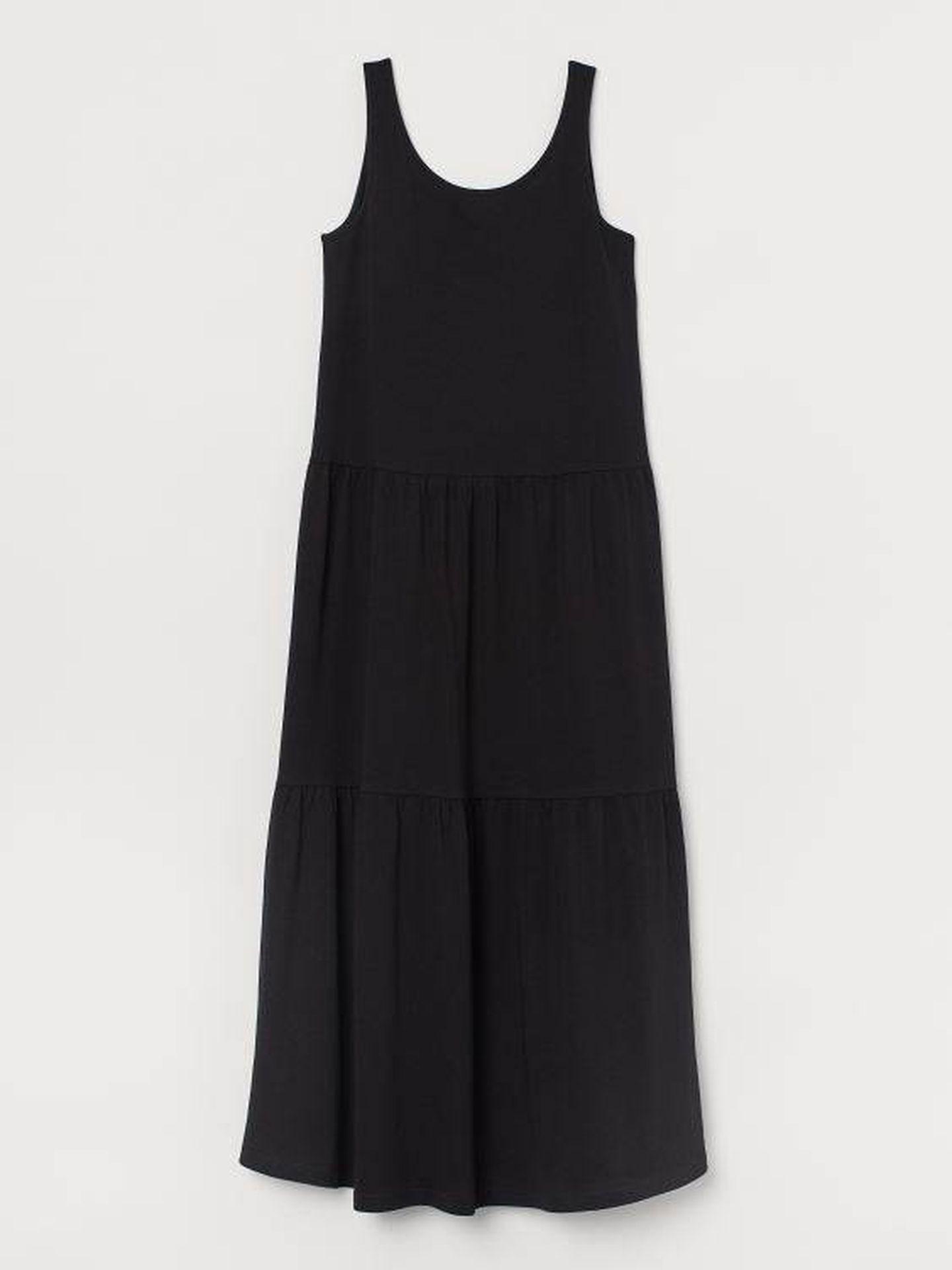 El vestido largo y negro de HyM. (Cortesía)