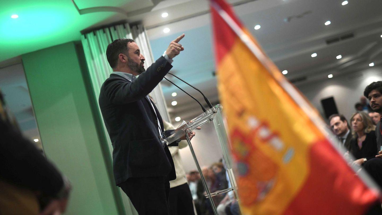 El presidente de Vox, Santiago Abascal, durante un mitin en Córdoba con motivo de las elecciones andaluzas. EFE Rafa Alcaide