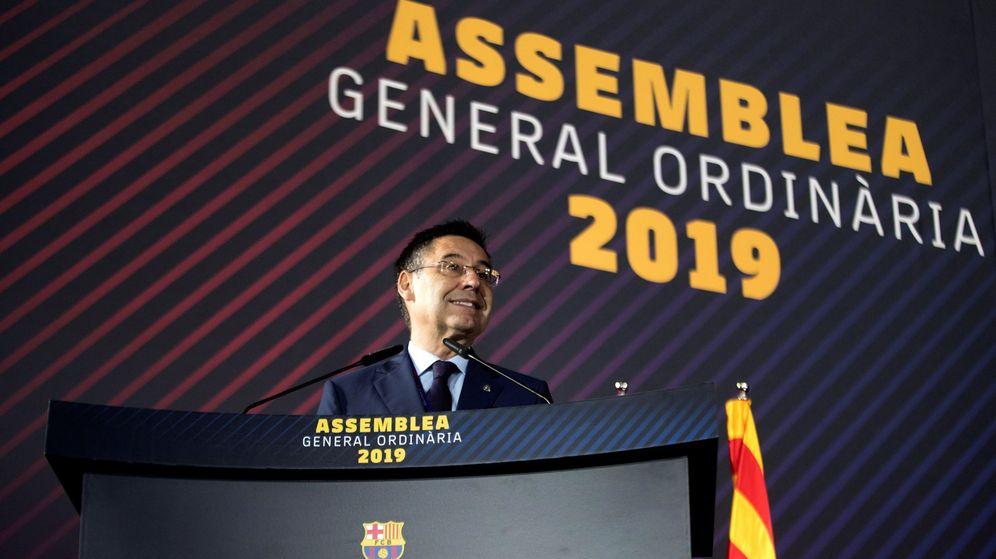 Foto: Josep María Bartomeu durante la Asamblea de este domingo. (EFE)