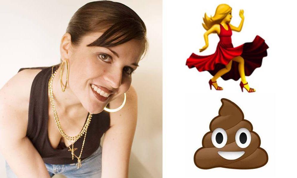 Foto: Angela Guzman y algunos de sus 'emojis' más famosos.