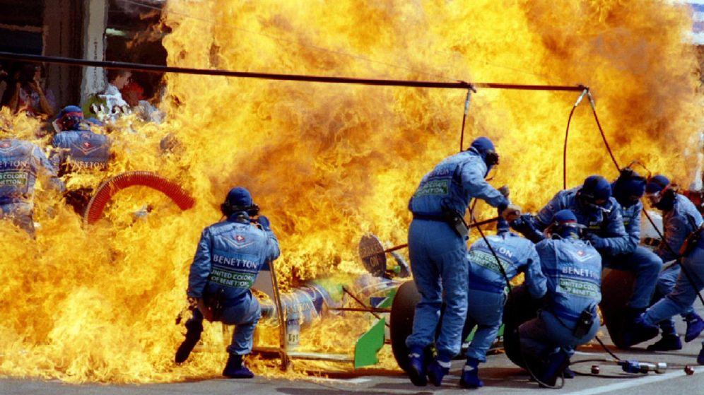 Foto: El coche de Jas Verstappen en GP de Alemania de 1994 (Reuters).
