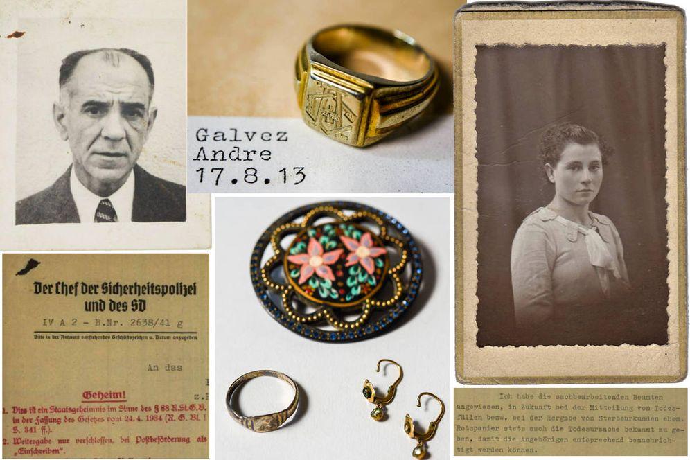 Foto: Algunas de las fotografías, cartas y objetos devueltos. (International Tracing Service)