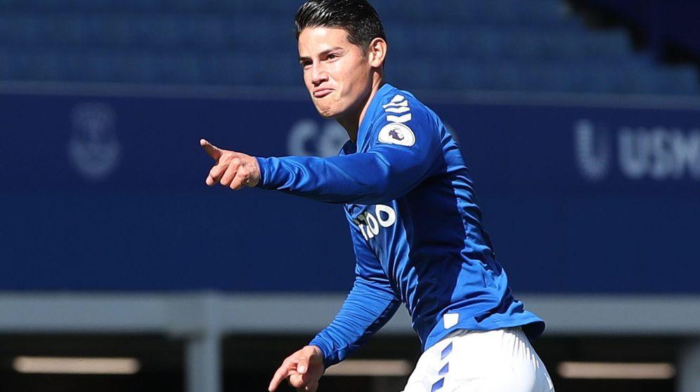 Foto: James Rodríguez celebra un gol en el partido entre el Everton y el West Bromwich Albion. (EFE)