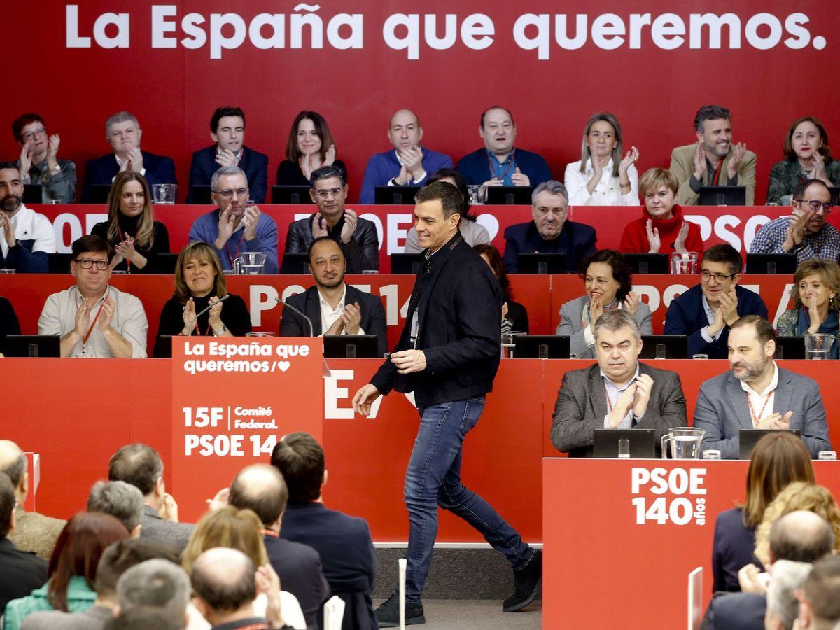 Foto: Pedro Sánchez se dirige al atril para intervenir ante el comité federal del PSOE, este 15 de febrero. (EFE)