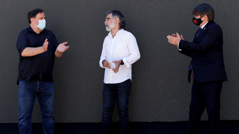 Junqueras, Cuixart y Puigdemont. (EFE)