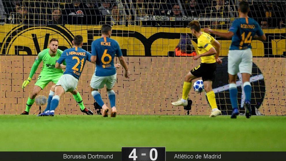 Naufragio del Atlético en Dortmund: la peor derrota de la era Simeone