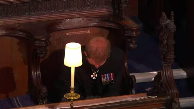 El príncipe Harry, durante el funeral de su abuelo. (Youtube Casa Real británica)