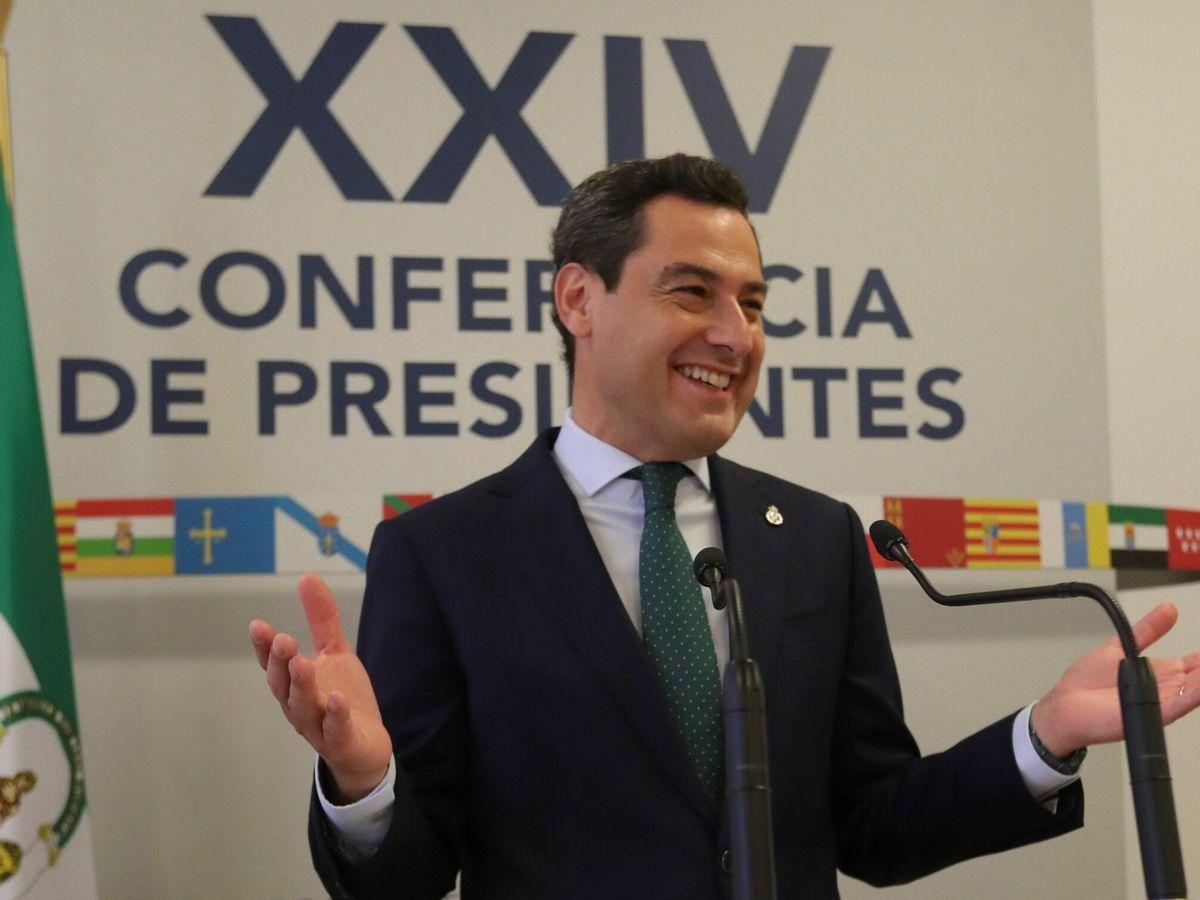 Foto: Juanma Moreno, en la Conferencia de Presidentes en Salamanca. (EFE)