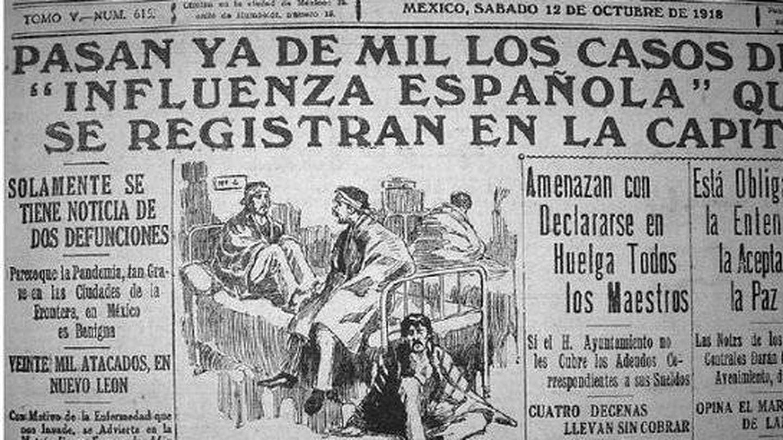 Recorte de prensa de la época sobre la epidemia de gripe española