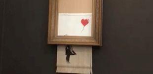 Post de Una famosa obra de Banksy se autodestruye después de ser subastada por 1 M de euros
