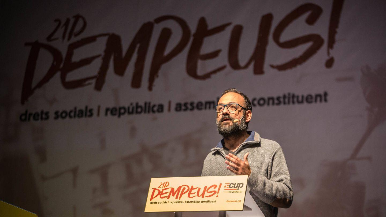 Benet Salellas, diputado de la CUP en la última legislatura, durante el mítin. (D.B.)