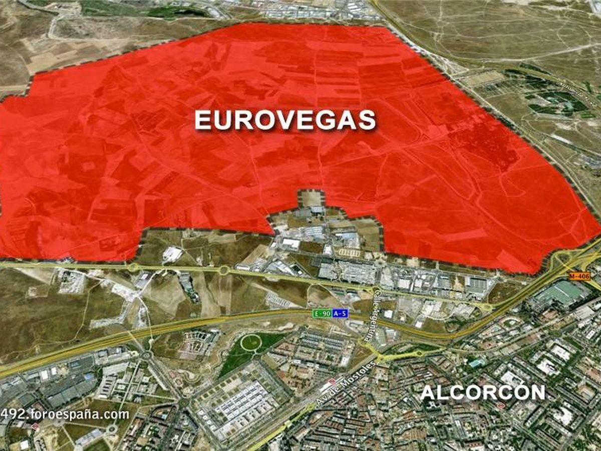 Foto: Los terrenos del Ensanche Norte en Alcorcón, elegidos por Sheldon Adelson para su fallido Eurovegas.