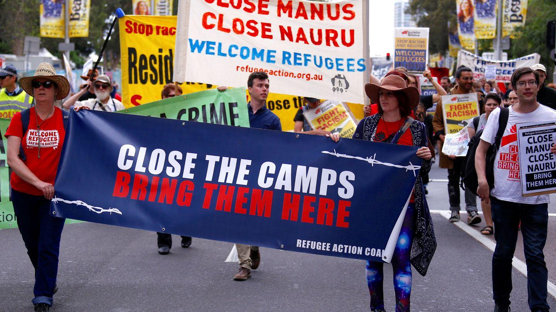 Manifestación en Sídney solicitando el cierre de las 'islas prisión' australianas (Reuters)