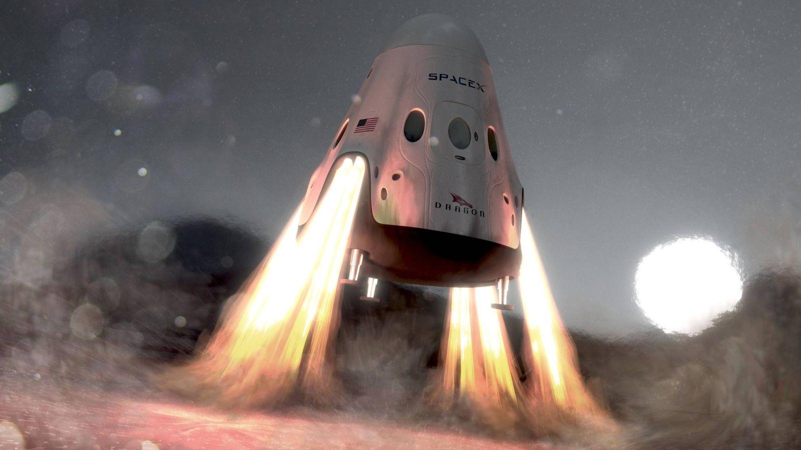 Foto: Boceto que simula el aterrizaje de una Red Dragon, de SpaceX, en Marte.