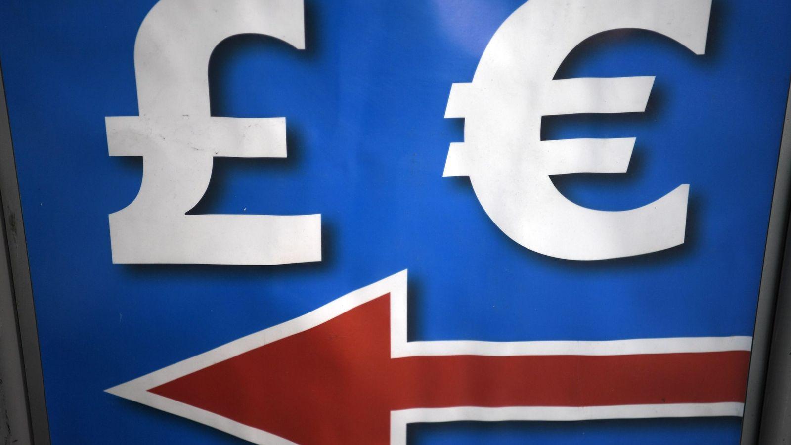 Foto: Símbolos de la libra y el euro (Efe)