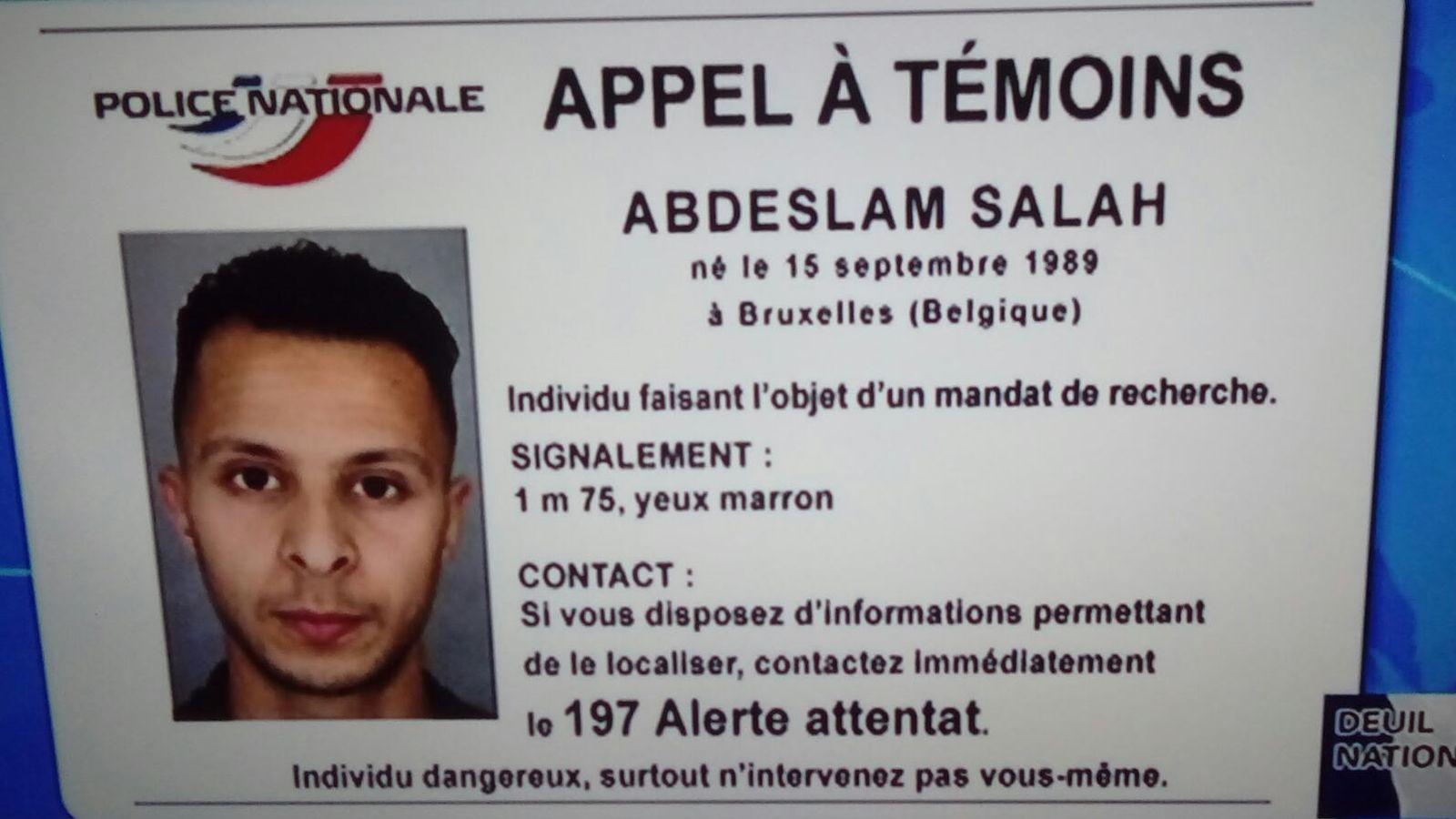 Foto: Mensaje de la policía francesa sobre Abdeslam Salah