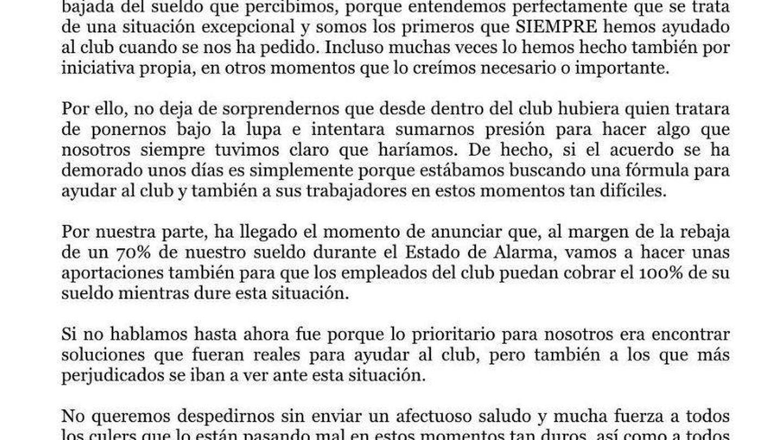 Comunicado íntegro de Leo Messi.