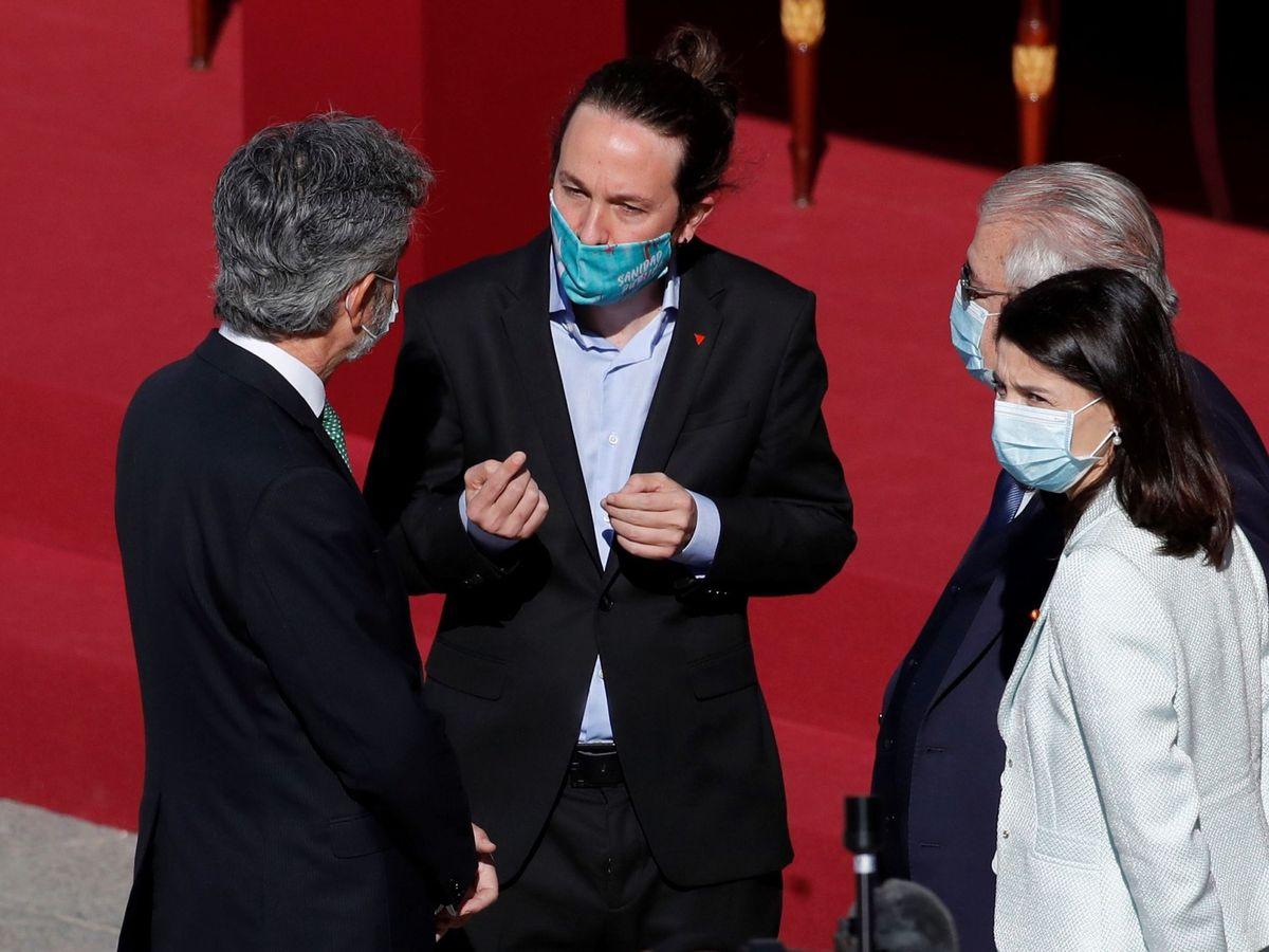 Foto: Pablo Iglesias, junto a Carlos Lesmes y Juan José González Rivas.