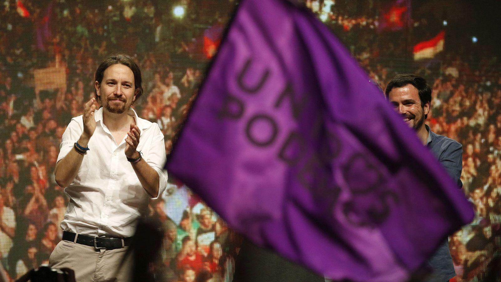 Foto: Pablo Iglesias en un mitín electoral de Podemos.(EFE).