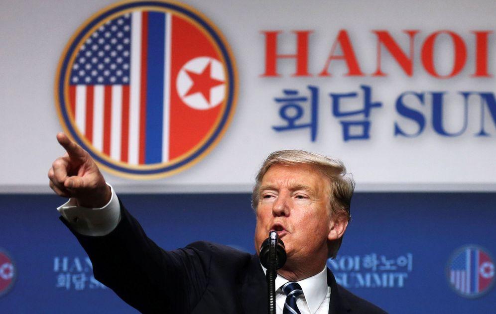 Foto: El presidente estadounidense Donald Trump durante la rueda de prensa tras el fracaso de la cumbre de Hanoi, el 28 de febrero de 2019. (Reuters)