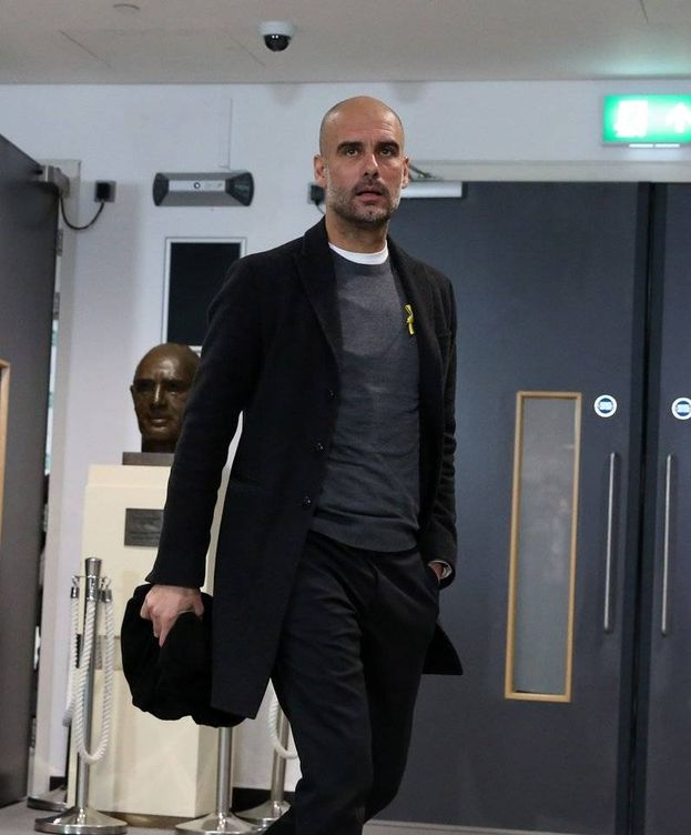 Foto: Pep Guardiola a su llegada este domingo a Wembley. (Manchester City)