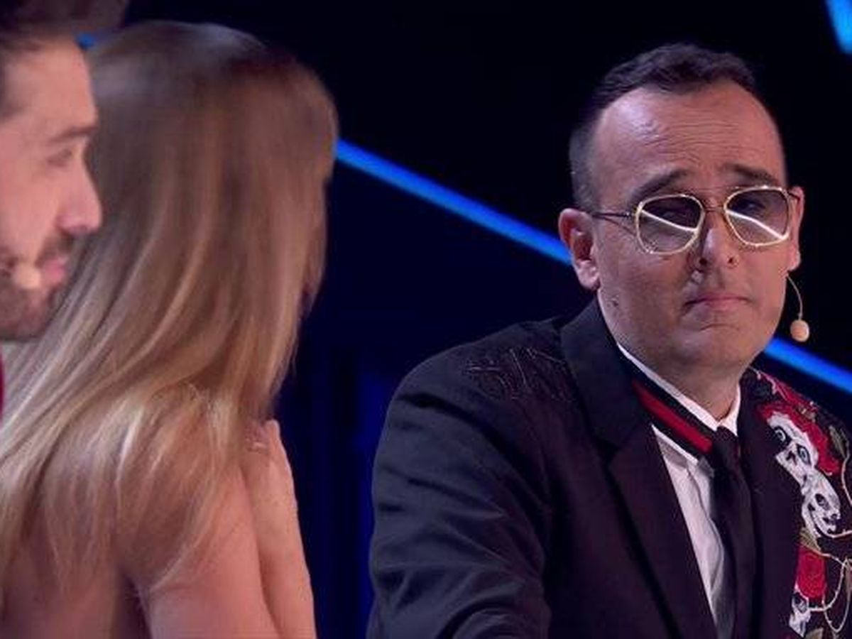 Foto: Risto, frente a Edurne y Dani en 'Got Talent'. (Telecinco)