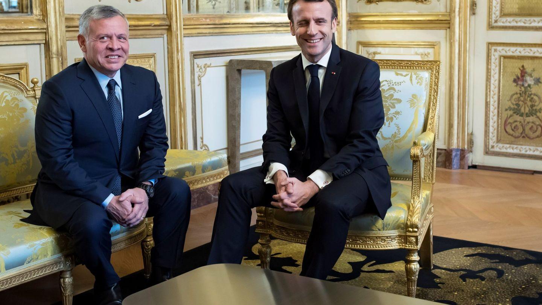 Abdalá de Jordania, con el presidente Macron. (EFE)