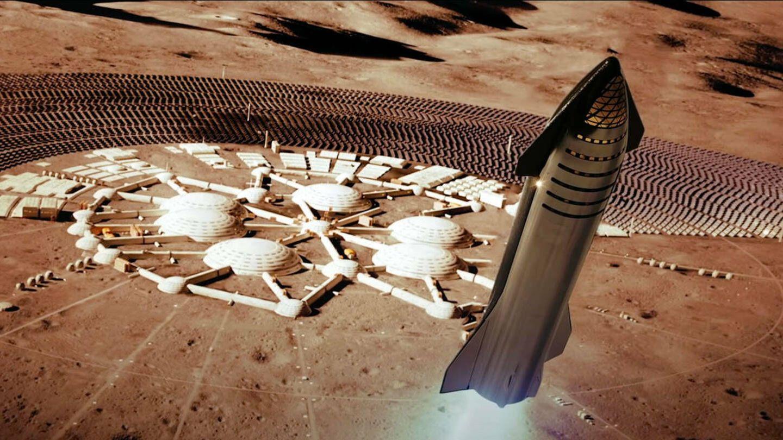 Un Starship aterrizando en una colonia marciana
